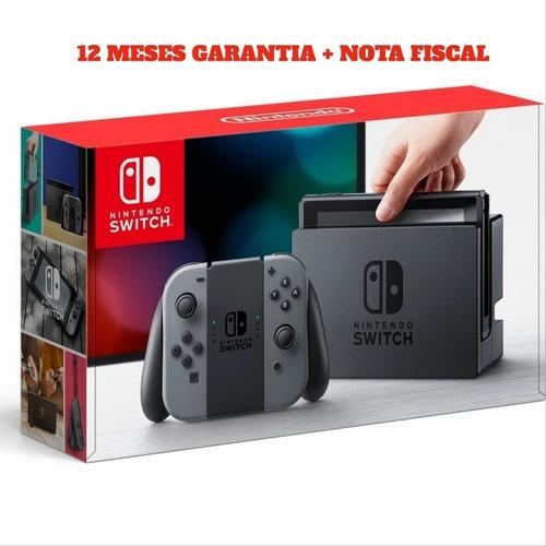 console nintendo switch 32gb usa  gray cinza + nota fiscal + 12 meses garantia