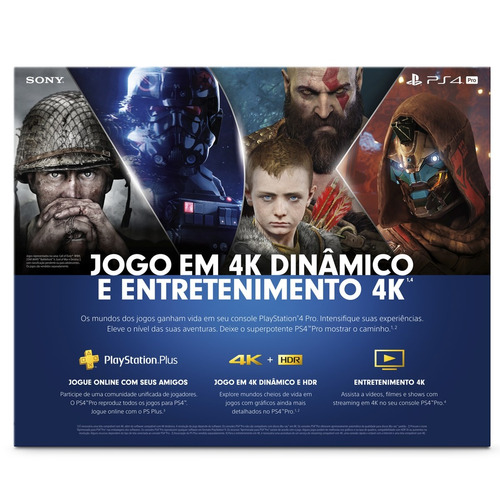 console playstation 4 pro - ps4 pro - 1tb preto cuh-7114b