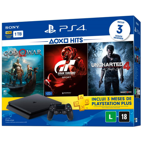 console playstation 4 slim (ps4) 1tb bundle hits 3 cuh-2114b