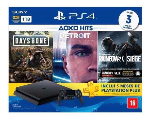 console ps4 playstation 4 slim 1tb com 3 jogo fisico lacrado