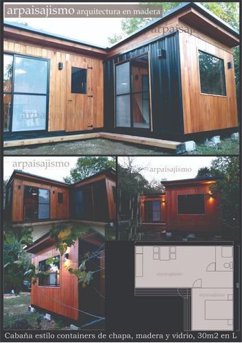 construccion de casas cabañas de madera con vidrio y chapa