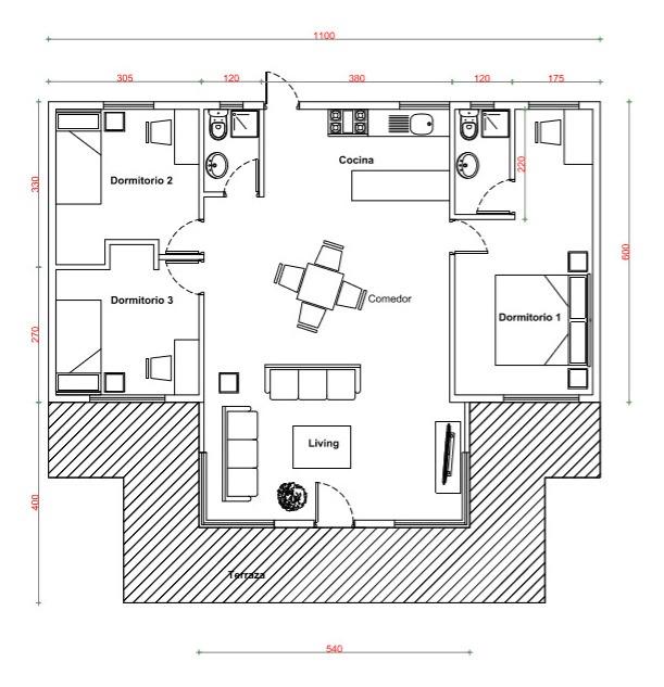 construcción de casas en terreno modelo shangrila 104 m²