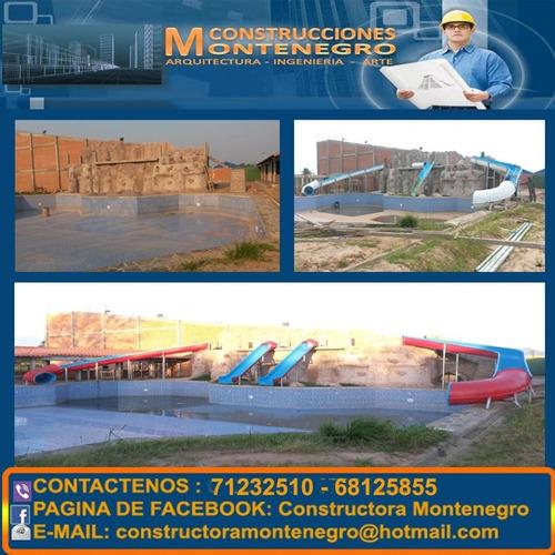construcciones de parques acuáticos y toboganes