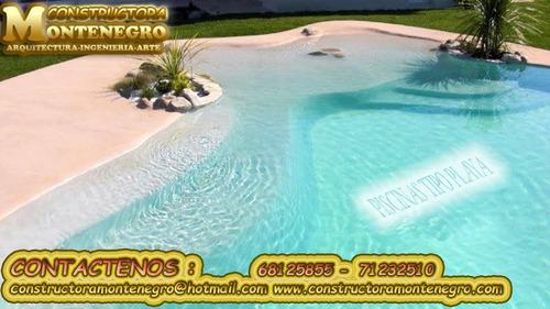 constructora montenegro, piscinas tipo playa hermosos
