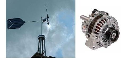 construya un aerogenerador usando un alternador y +