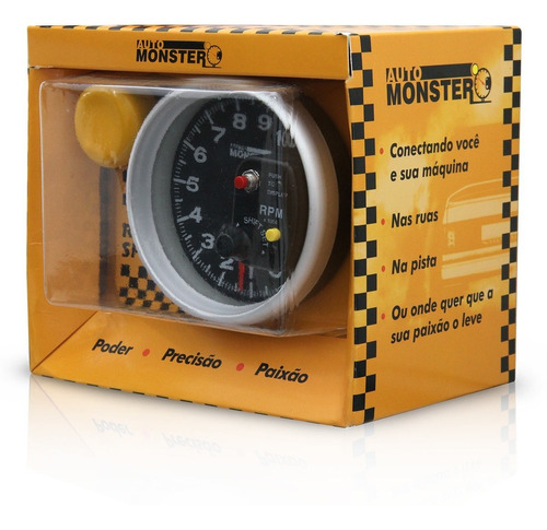 conta giro automotivo rpm monster led 7 cores preto prata