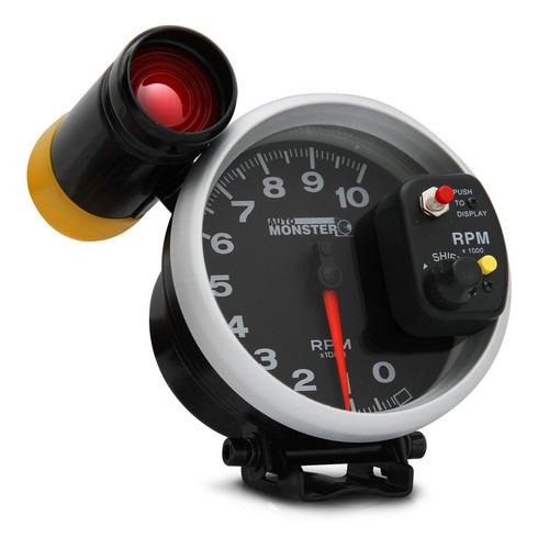 conta giro velocimetro automotivo rpm monster led 7 cores preto prata