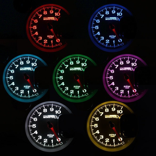 conta giro velocimetro rpm monster led 7 cores prata prata