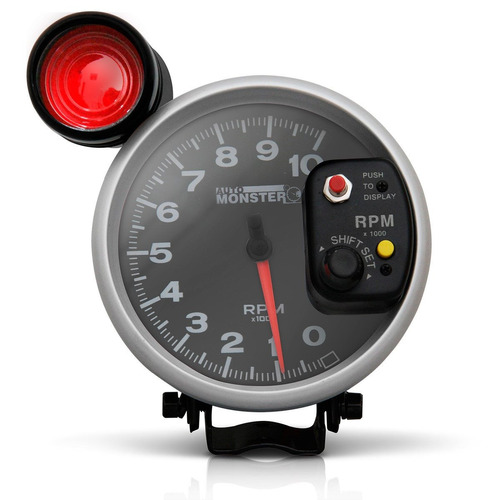 conta giro velocimetro rpm monster led 7 cores preto prata
