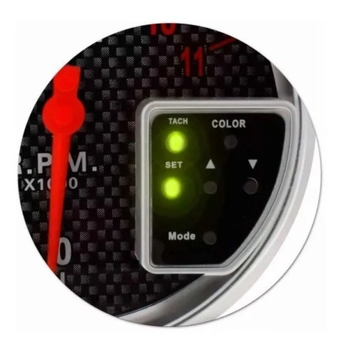 conta giros rpm led 10 cores regulagem digital - carbono