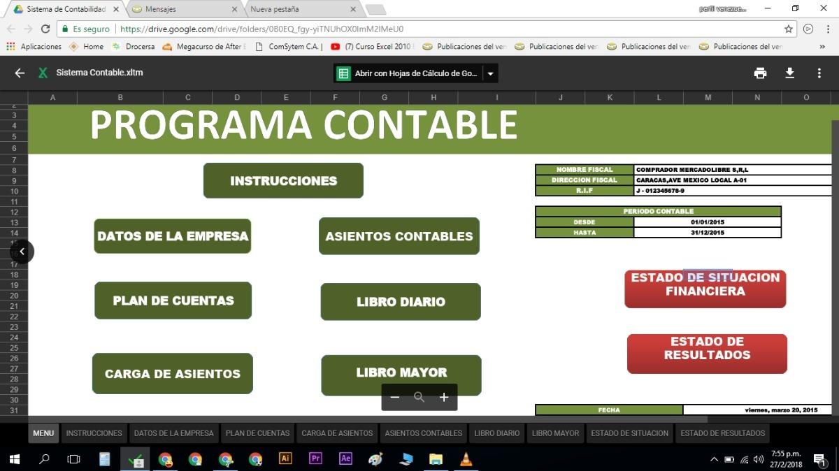 Contabilidad En Excel Plantilla Programada Sistema Contable ...