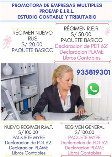 contabilidades contadora publica asesorías rpc 935819301