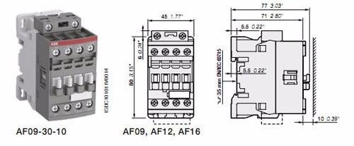 contactor abb af16-30-10 bobina multi 100 - 250 volt.c/ aux