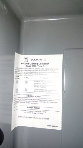 contactor de alumbrado 60 amp square d (3x60amp)