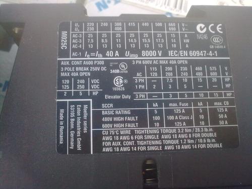 contactor trifásico marca moeller mod. dilm25-10 bob. 220vca