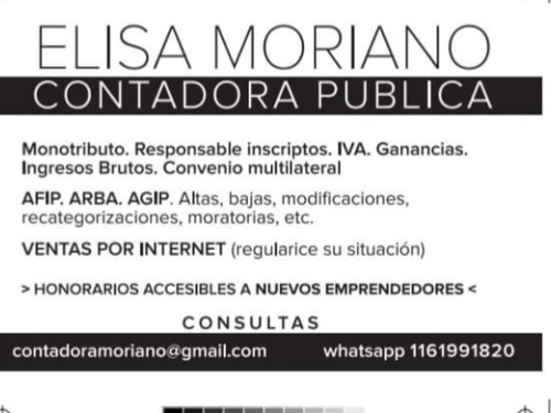 contador publico asesoramiento sin cargo ( tramites on line)