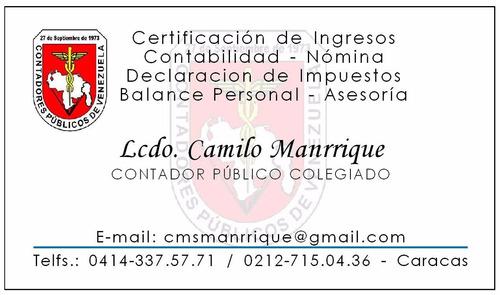 contador publico - certificaciones de ingresos, balances