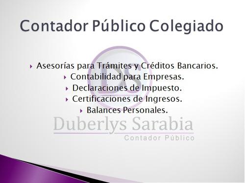 contador público colegiado. asesorías / servicios contables