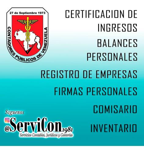 contador publico,certificación ingresos,registro de empresas