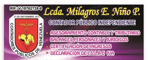 contador publico:certificaciones- balances- declaración islr