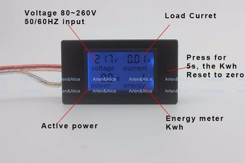 contador voltímetro amperímetro wattímetro 110v 220v ac 100a