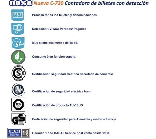 contadora dinero billetes dasa c720 pro detecta falsos -2019