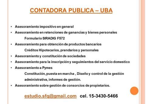 contadora publica - monotributo -impuestos - asesoramiento