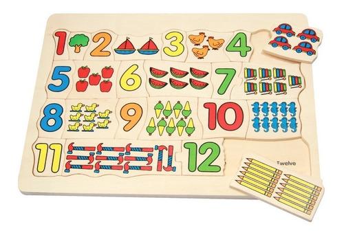 contando 1-12 rompecabezas infantil madera 25 pzas 3+ diako
