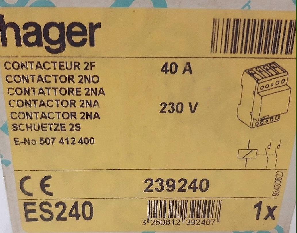 230/V 2/Na /Contacteur Hager/ 40/A /esc240/