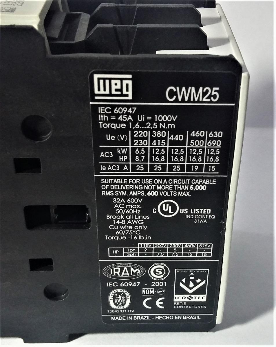 25 30 Https Bing Saves Form Hdrsav: Contator Tripolar Cwm25-00-30v26 25a Ac-3 220v/60h Weg