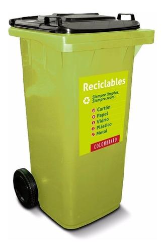 contenedor de residuos c/ruedas 120lts. tacho basura c/tapa