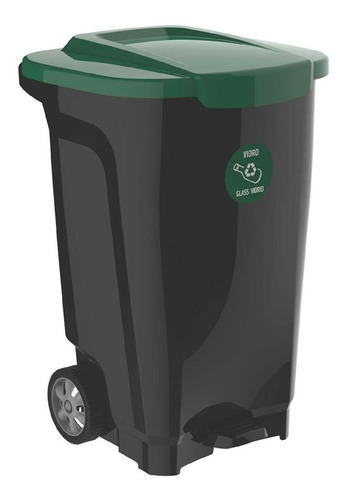 contenedor de residuos ruedas tapa 100lts tacho basura industrial kld tramontina