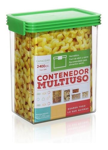 contenedor multiuso plastico hermético 2400cc colores varios