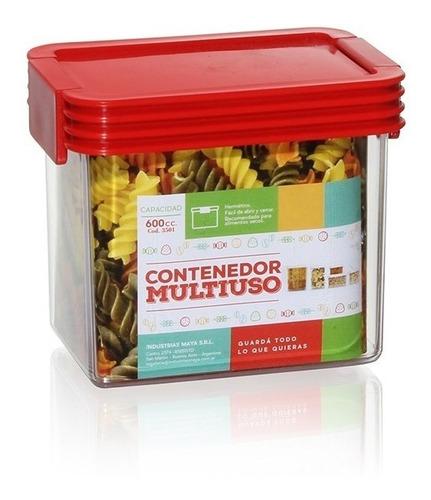 contenedor multiuso plastico hermético 600cc colores varios