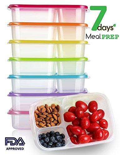 10 Pack compartimiento 2 listo comida PREP Alimentos Contenedores Tapas Caja de almuerzo Apilable