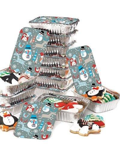 contenedores papel de aluminio fiesta muñeco de nieve con t