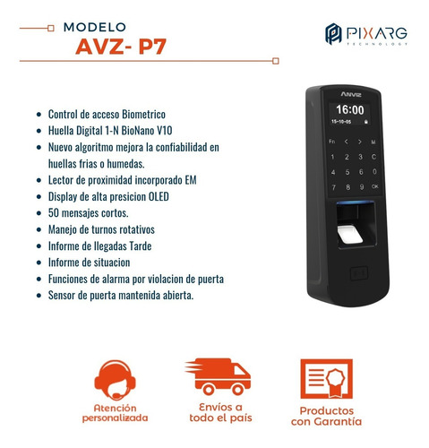 control acceso anviz poe display touch tarjeta huella p7