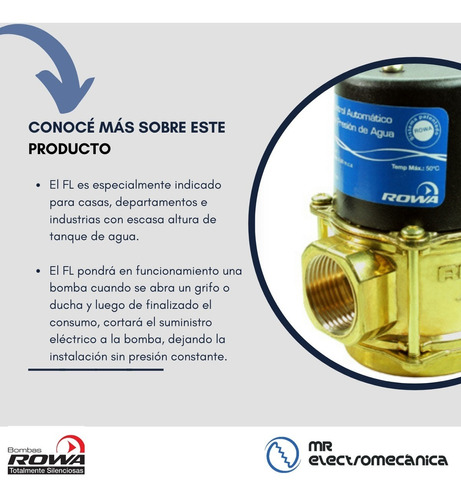 control automatico presion bronce bomba agua rowa fl