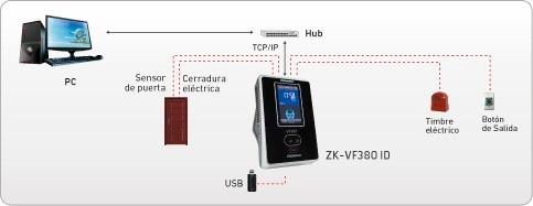 control de acceso biométrico facial zk vf380