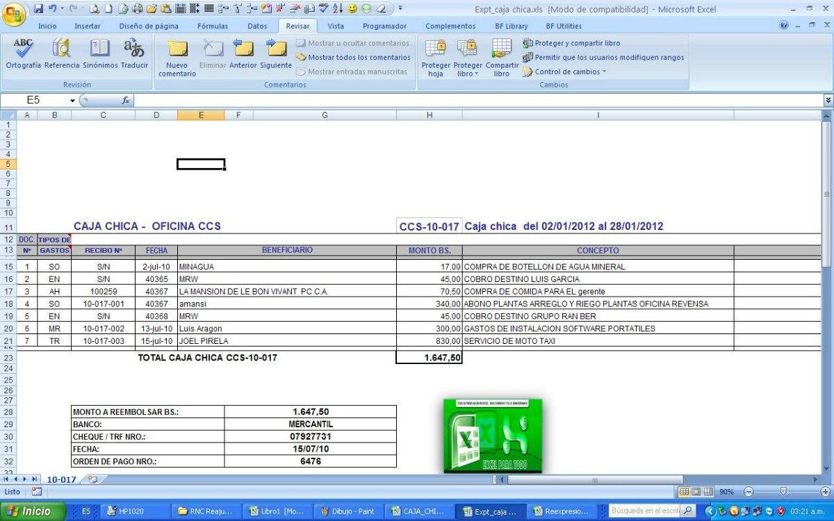 Control De Caja Chica En Excel Con Su Asiento Contable - Bs. 656.200 ...