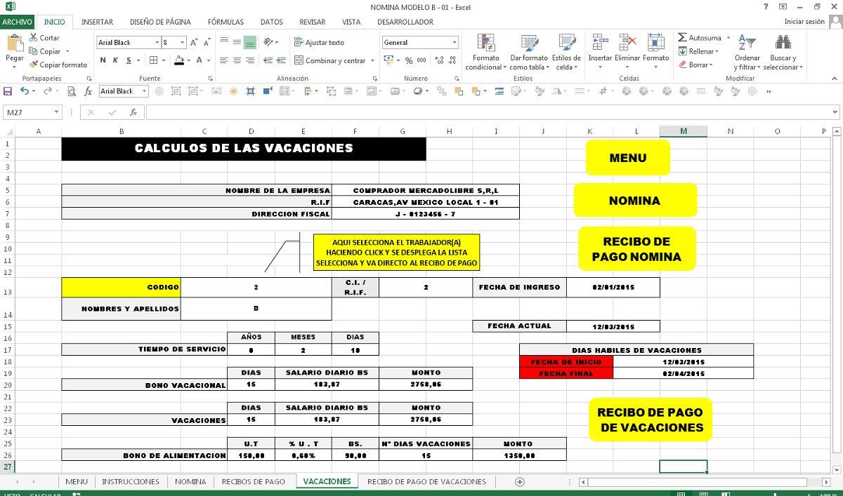 Control De Nomina Con Recibo De Pago En Excel Bs
