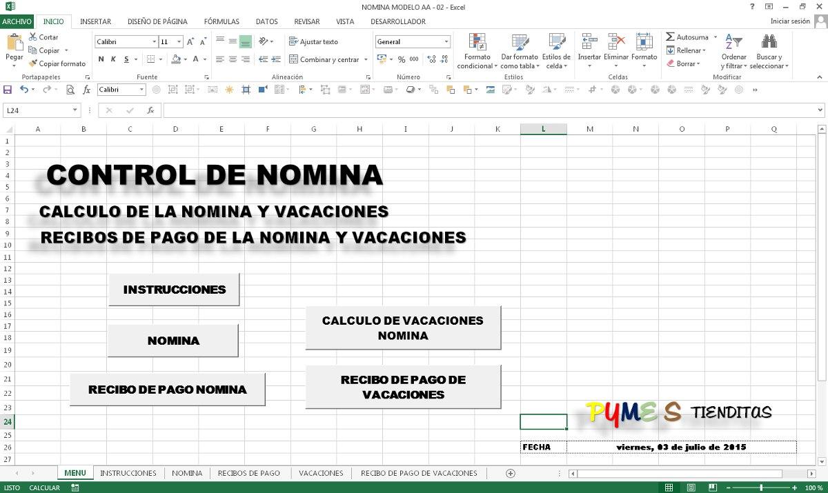 Control De Nomina En Excel Pymes Bs En