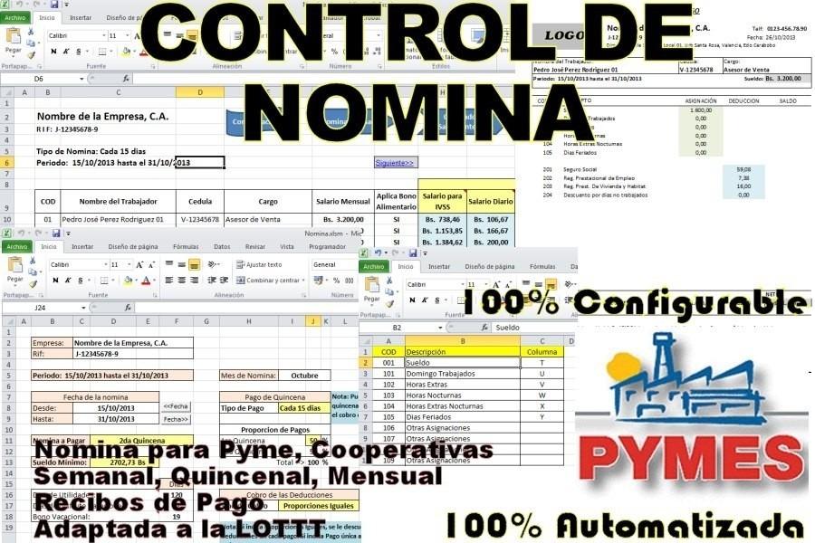 Control De N Mina Recibo De Pago Lottt En Excel 2018