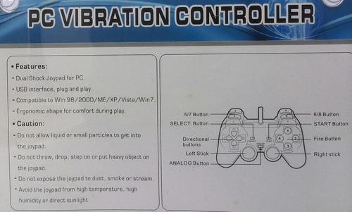 control joistick usb pc transparente luz azul vibracion