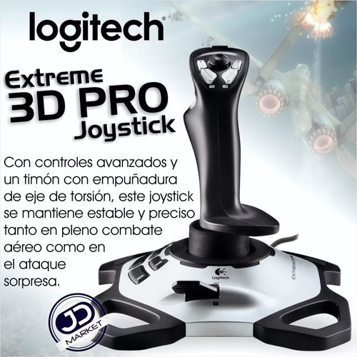 control joystick logitech extreme 3d pro, simulador de vuelo