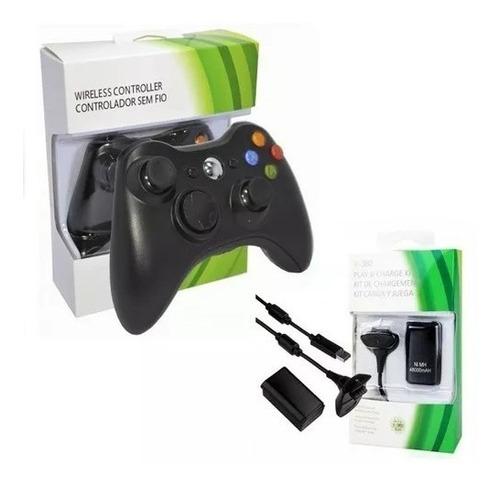 control joystick xbox360 pc inalambrico + kit carga y juega!