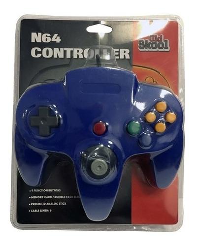 control para nintendo 64 old skool, color azul
