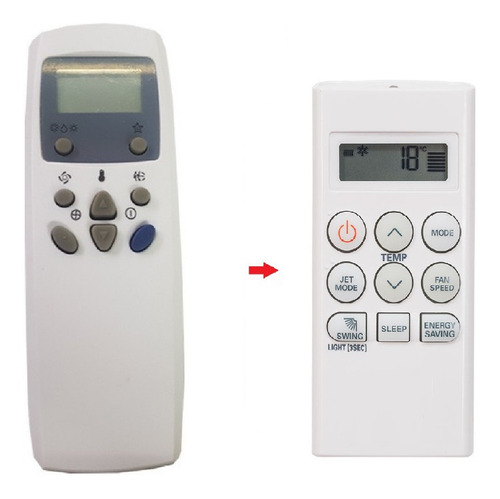 control remoto aire acondicionado 6711a20010b configurado lg