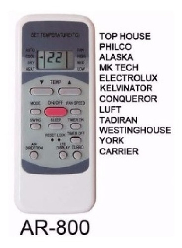 control remoto aire acondicionado electrolux philco carrier