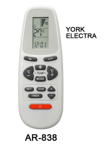 control remoto ar838 aire acondicionado york electra